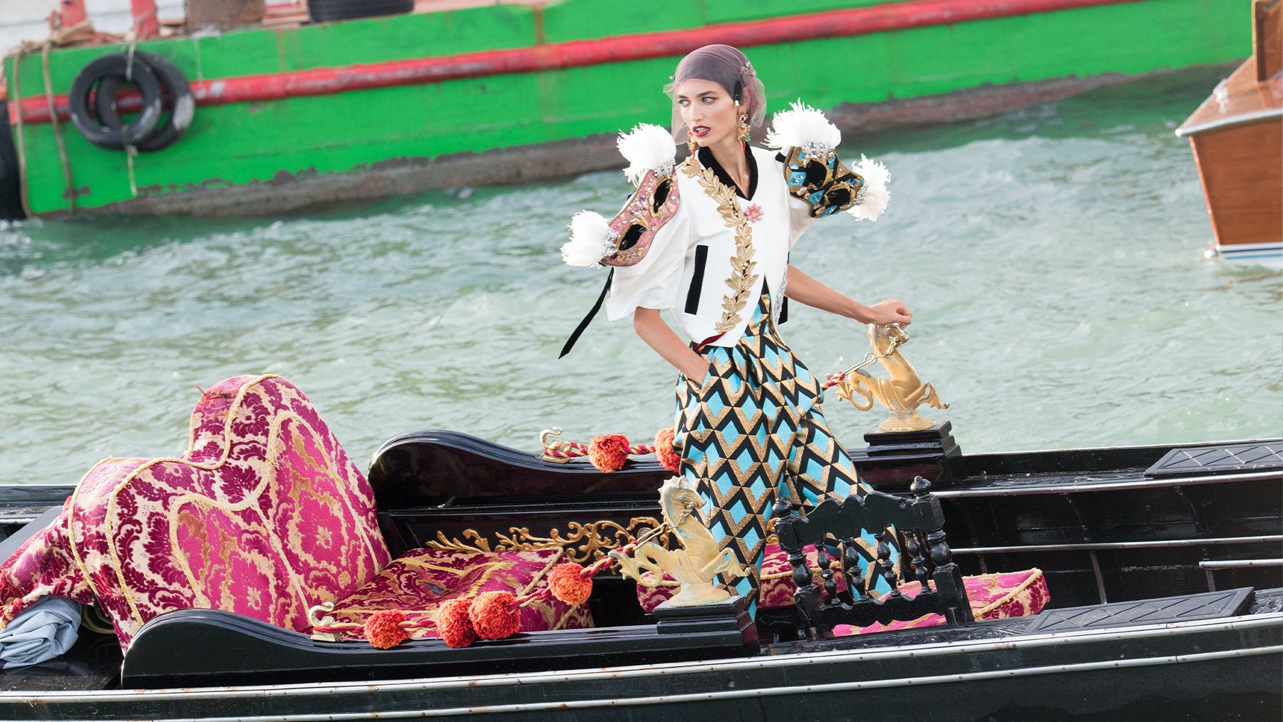 A model at Dolce & Gabbana\'s Alta Moda show in Venice. Getty Images.