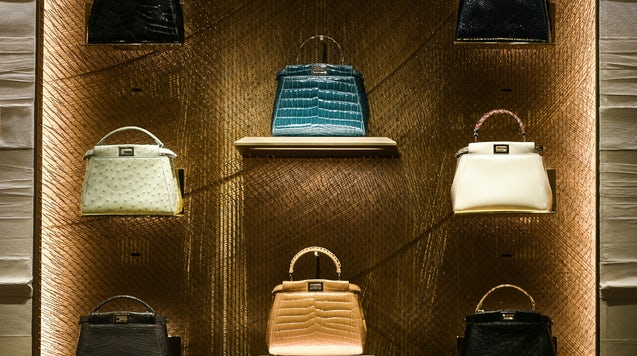 Fendi leather purses on display at a store in Paris. Shutterstock