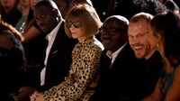 Anna Wintour and Edward Enninful at the Fashion For Relief show in London. Getty Images.