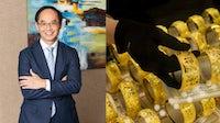 Chow Tai Fook managing director Kent Wong Siu-Kee; an employee arranges gold bangles inside a Chow Tai Fook Jewellery Group jewellery store in Hong Kong. Chow Tai Fook; Getty Images.