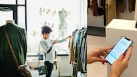 Woman taking photo of clothing with smartphone. Thomas Barwick via Getty Images. Afterpay solution on smartphone. Afterpay