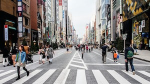 Ginza shopping district in Tokyo. Shutterstock