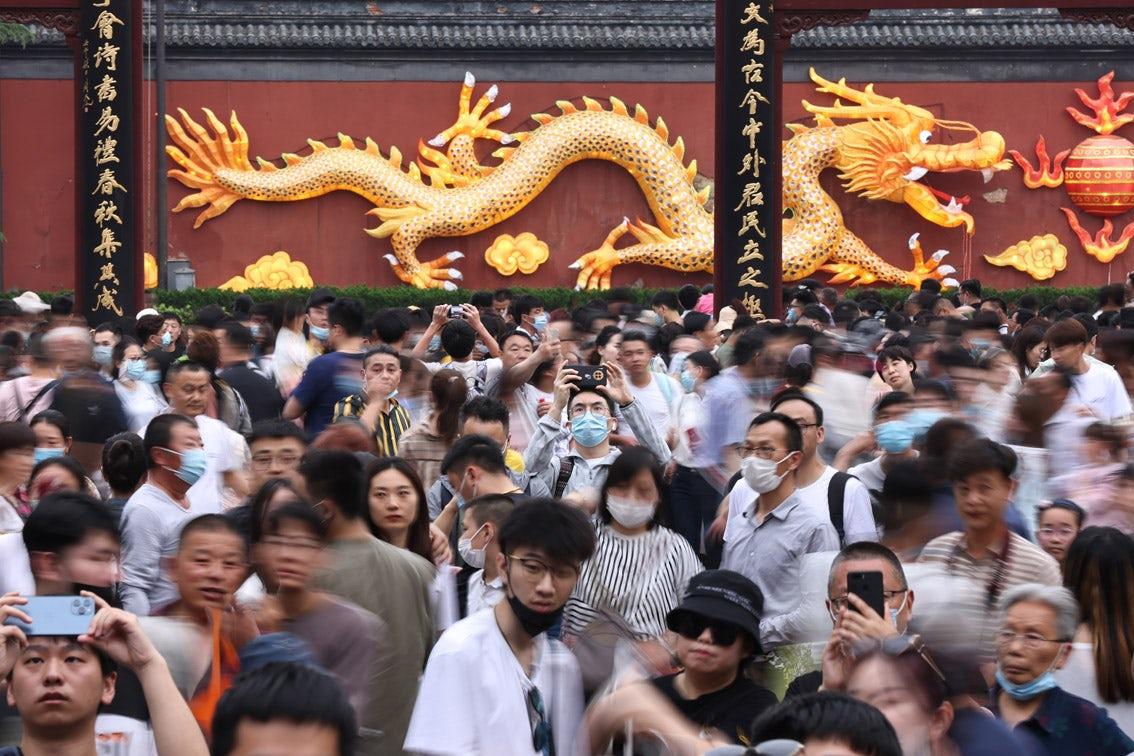 Chinese travellers over the Labour Day holiday. China News Service.