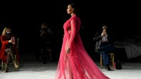 A model walks the runway during the Christian Siriano FW2021 NYFW Show at Gotham Hall. Getty Images.
