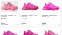 In luxury e-commerce, too many players chase the same customers with the same products. Above, a shopping search for Triple S sneakers. Screenshot.