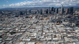 Aerial views of LA's fashion district near downtown.