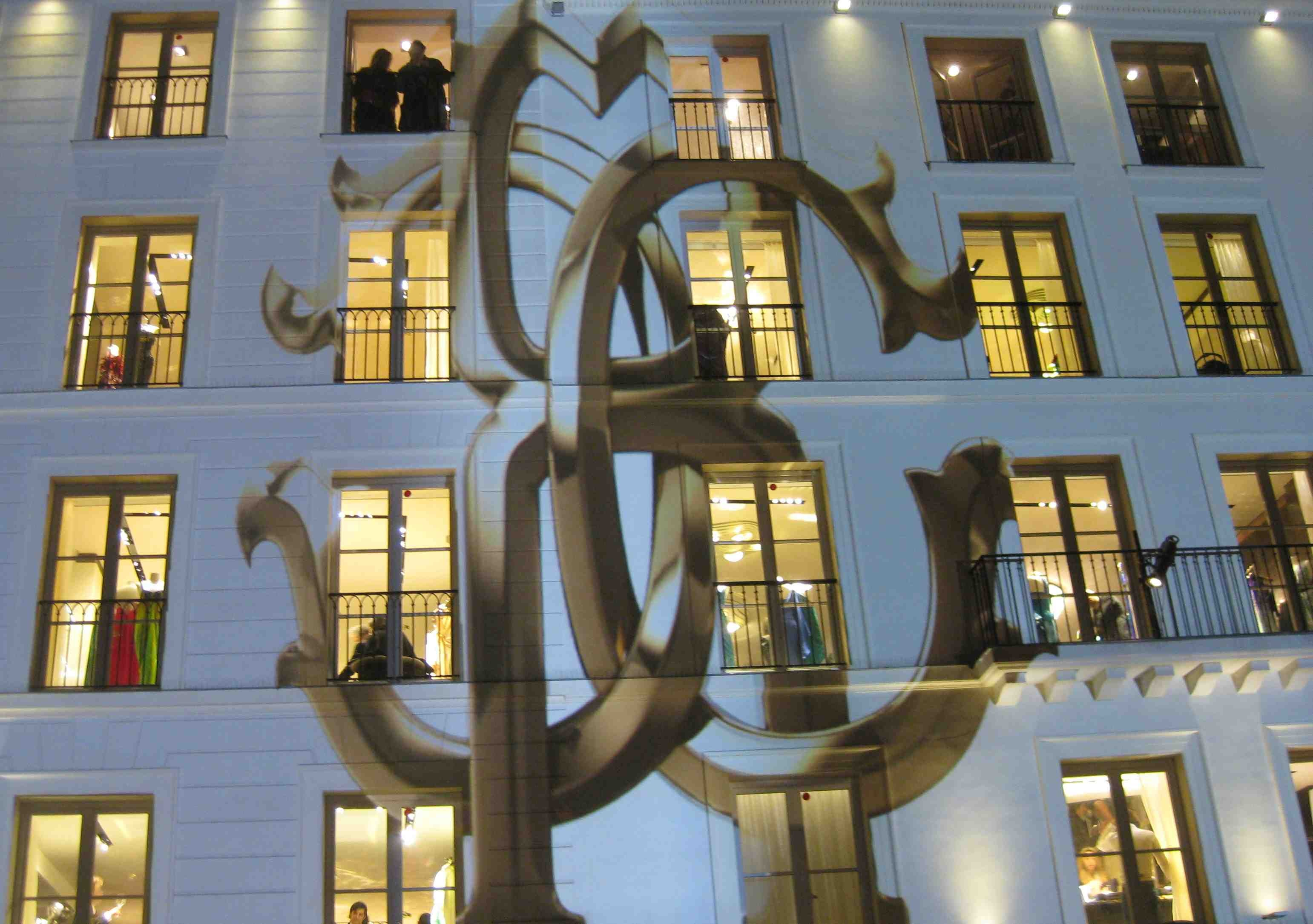 Cavalli insignia projected on new flagship, Paris | Source: BoF
