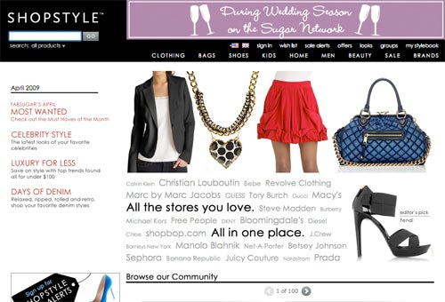 Shopstyle homepage