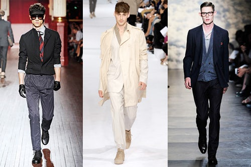 Lanvin, Dior, and Paul Smith S/S 10, courtesy of men.style.com
