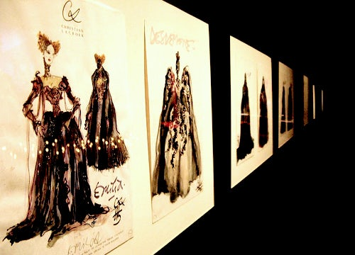 Christian Lacroix sketches on display at the National Museum of Singapore