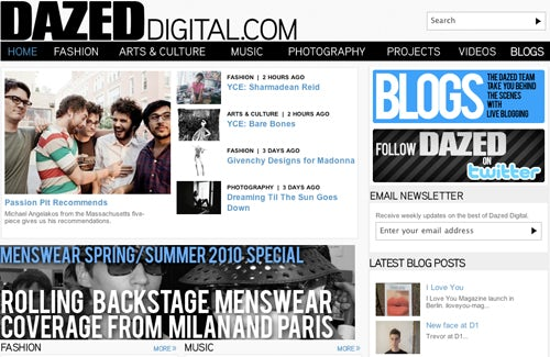 Screen shot of DazedDigital.com | Source: Dazed Group