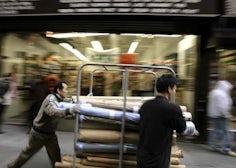 Pushing carts through New York's garment district