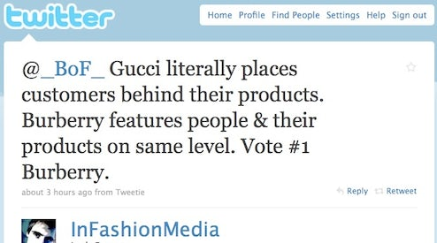 a59868837291 BoF Twitter Poll Gucci Eyeweb versus Burberry Art of the Trench | Source:  BoF