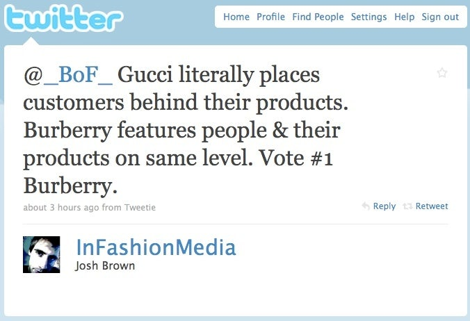 BoF Twitter Poll Gucci Eyeweb versus Burberry Art of the Trench | Source: BoF