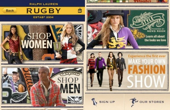 Mobile Screenshot, RUGBY by Ralph Lauren | Source: