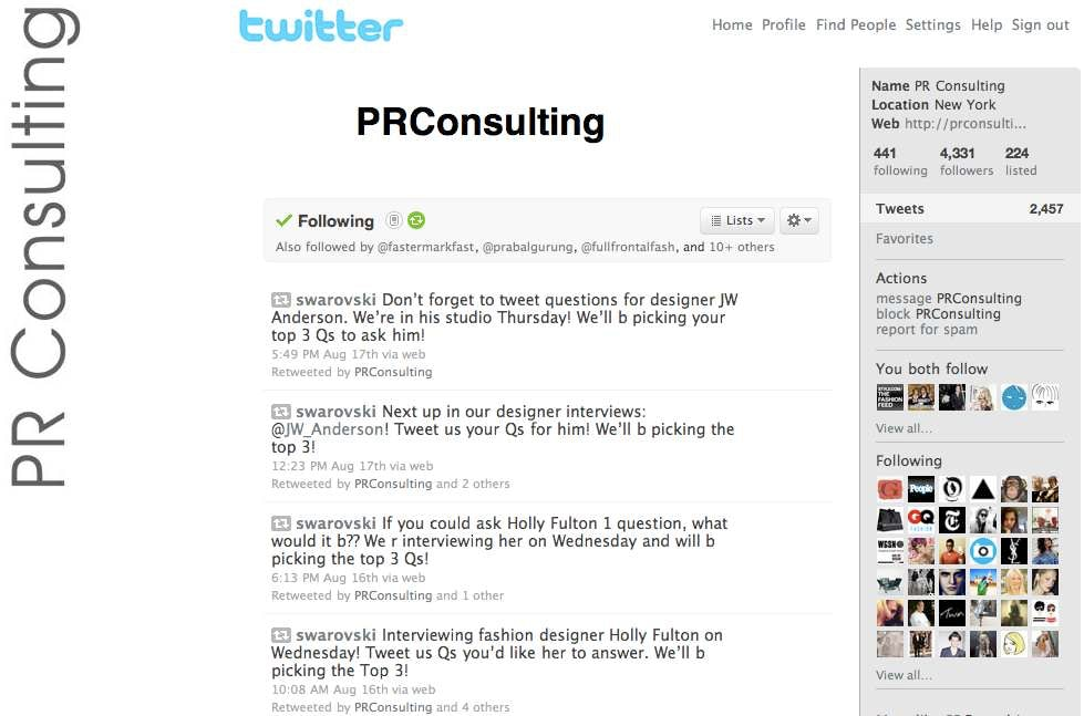 Screenshot of PR Consulting Twitter Feed | Source: PR Consulting