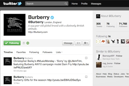 Burberry on Twitter | Source: Twitter