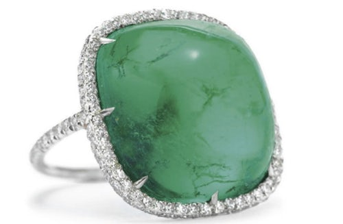 "Emerald and Diamond ""Thread"" ring by JAR 