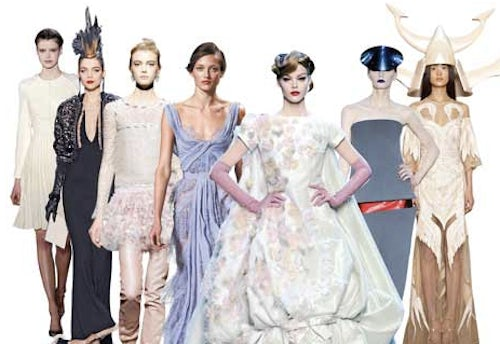 L-R: Valentino, Gaultier, Chanel, Saab, Dior, Armani, Givenchy | Source: FT