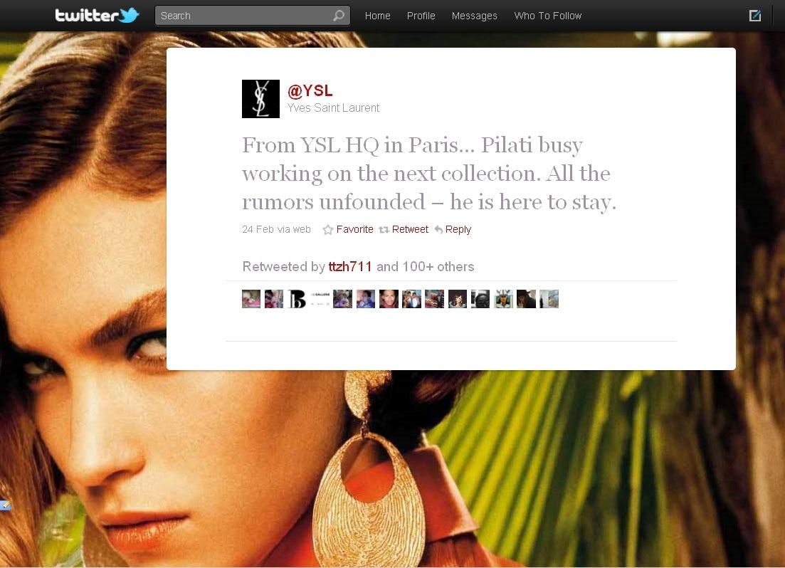 YSL Tweet Denying Pilati Rumours   Source: Twitter