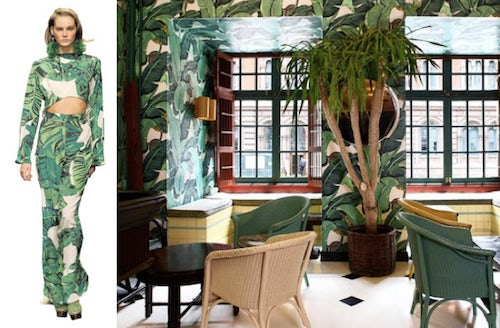 S/S look from the House of Holland, Interior of Indochine Resto | Source: WSJ