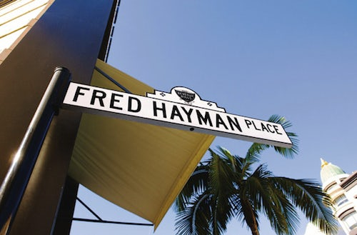 The Fred Hayman Place sign, Los Angeles | Source: Fred Hayman Archives