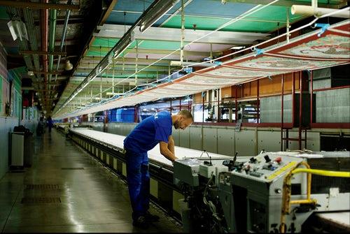 Hermès silk printing table by Brigitte Lacomb   Source: WSJ