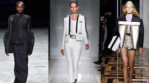 L-R Rick Owens, Balmain, Balenciaga | Source: Style.com