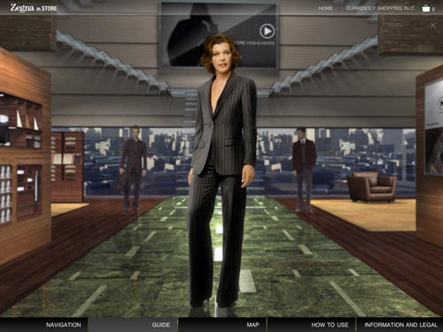 Zegna virtual store iPad app | Source: NY Times