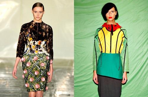 Left: Mary Katrantzou's 'Jewel Tree' dress, Right: A look from Christopher Raeburn S/S 2012 | Source: Style.com