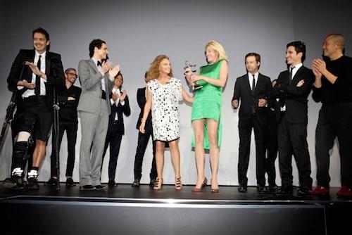 Diane von Furstenberg, Nadja Swarovski and the Swarovski award winners | Source: Style.com