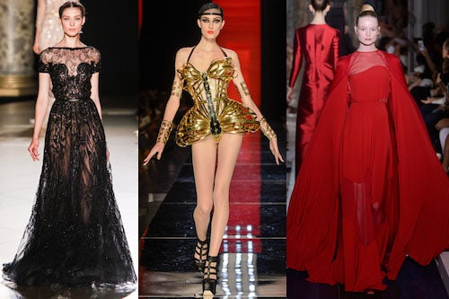 Elie Saab, Jean Paul Gaultier and Valentino Couture 2012 | Source: Style.com