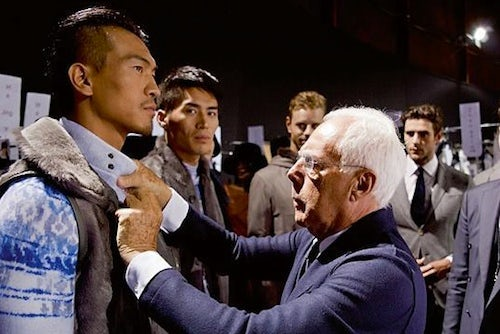 Giorgio Armani backstage Source AFR