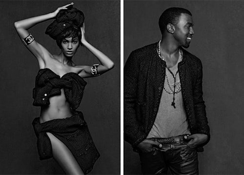 Joan Smalls and Kanye West from 'The Little Black Jacket' | Source: Chanel