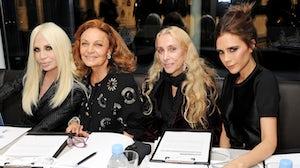 Diane von Furstenberg, Donatella Versace, Franca Sozzani and Victoria Beckham at the International Woolmark Prize | Photo: Dave Benett
