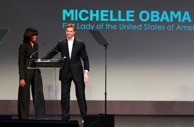 Michelle Obama and Mark Parker announcing their commitment to bring physical activity to schools | Source: Nike