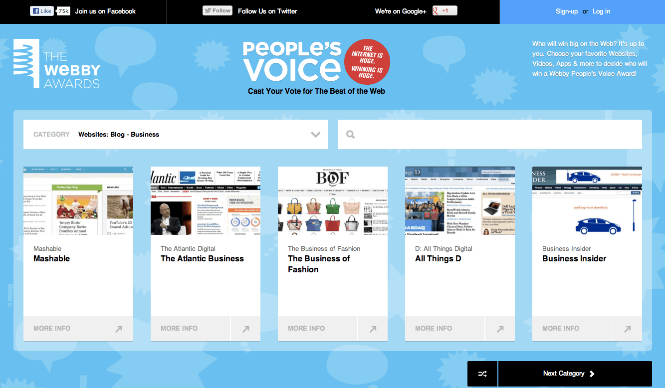 People's Voice Awards for Best Business Blog | Source: Webby's