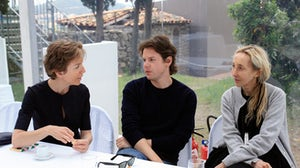 Floriane de Saint Pierre, Christopher Kane, Carla Sozzani at Hyères 2011 | Photo: Saskia Lawaks