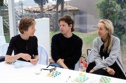 Floriane de Saint Pierre, Christopher Kane, Carla Sozzani at Hyères 2011 | Photo: Saskia Lawaks