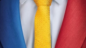 Jacket and tie in the Philippines' national colours | Source: Ayala Land, Inc.