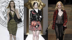 Left to right: looks from the Fall/Winter 2013 Versace, Moschino and Saint Laurent  shows | Source: NowFashion