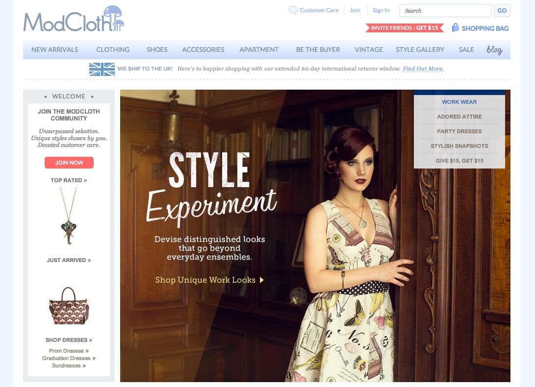 ModCloth Screen Shot | Source: ModCloth