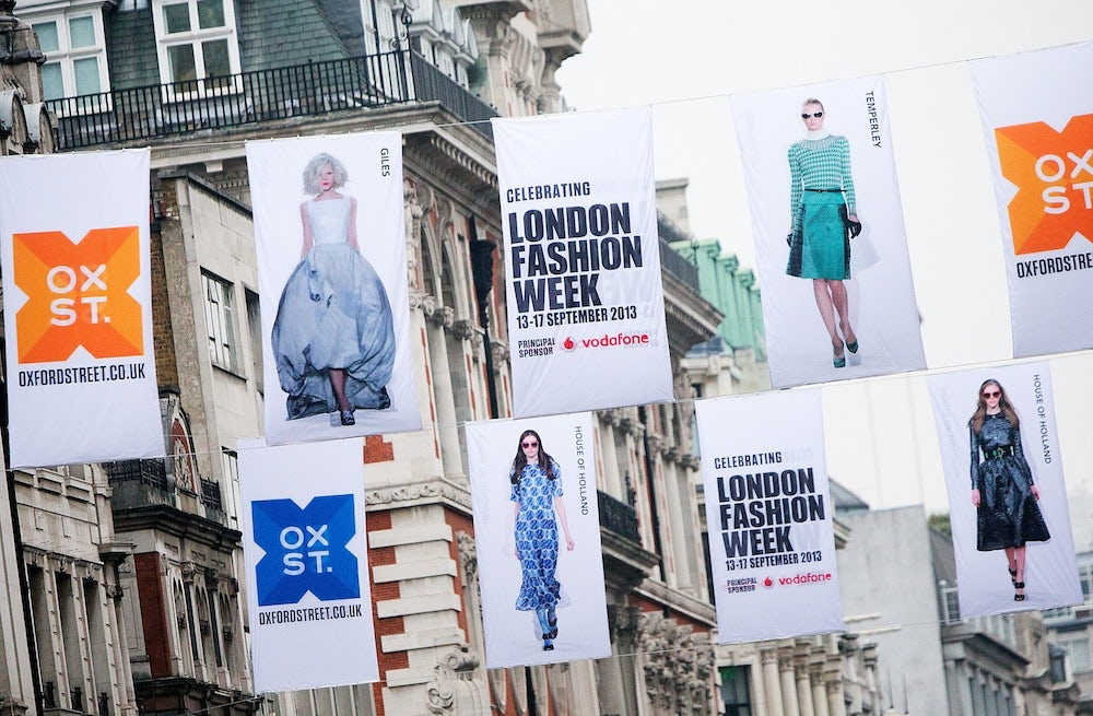 Fashion week flags on Oxford Street | Source: London Fashion Week
