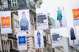 Fashion week flags on Oxford Street | Source: London Fashion Week
