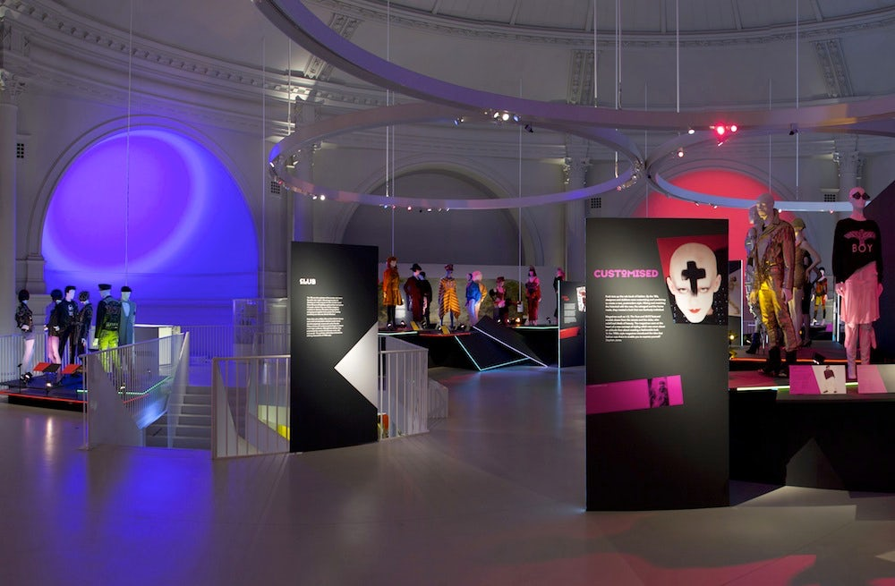 An installation at From Club to Catwalk: London Fashion in the 1980s | Source: V&A