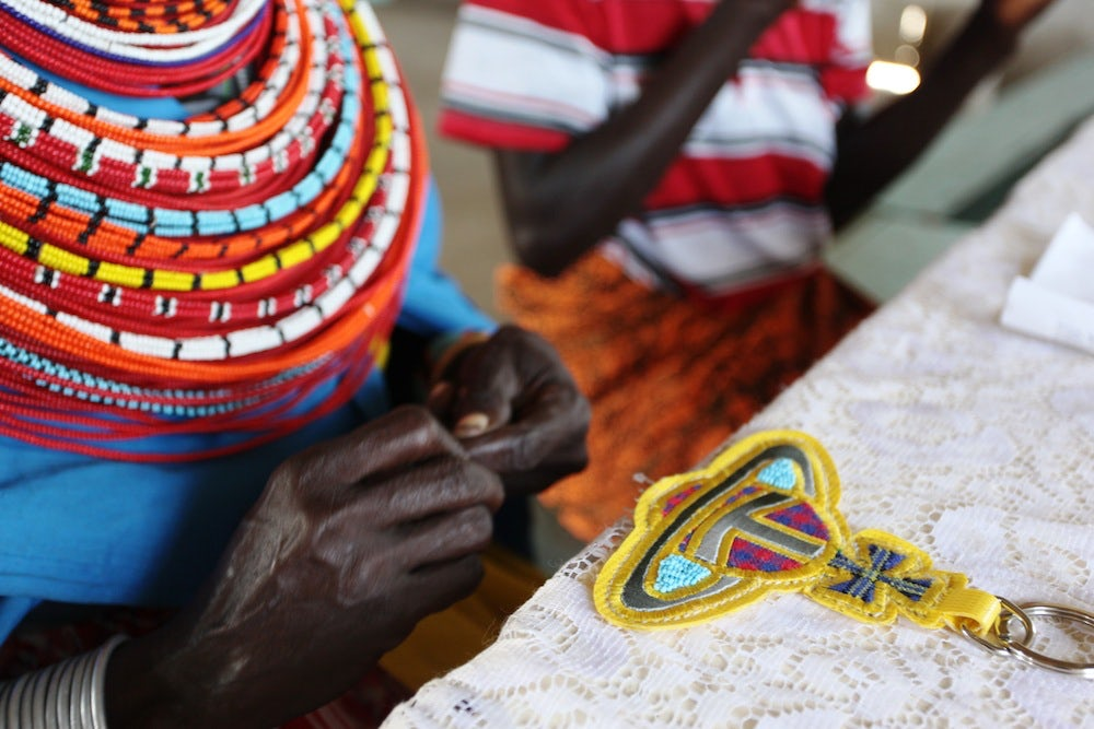 Vivienne Westwood keyring being beaded by the Maasai in Kenya | Source: Chloe Mukai / ITC Ethical Fashion Initiative