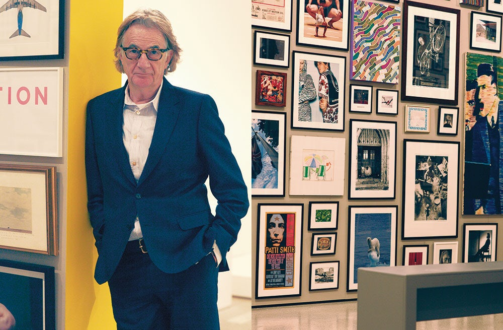L: Paul Smith at 'Hello, my name is Paul Smith' at London's Design Museum; R: A detail from the exhibition | Photo: Michael Hemy for BoF