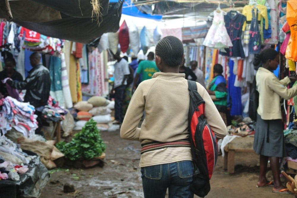 A second-hand clothing market in Kenya | Photo: Katrina Shakarian