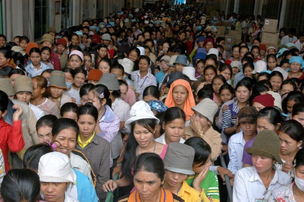 Cambodian garment workers protest outside a factory | Source: Flickr