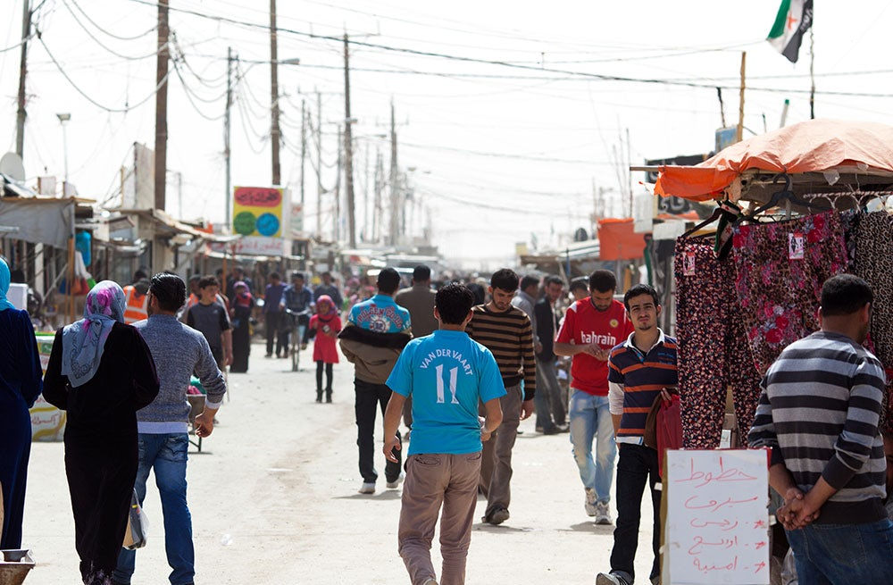 The 'Champs Élysées' main market street in the Za'atari refugee camp, Jordan | Photo: Dustin Mennie
